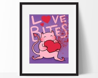 Demon Art Print, Love Bites, Creepy Cute, Horror, Pink and Purple, 8x10, Valentines Day Art, Bloody Heart, Illustration, Monster Wall Art