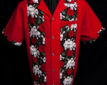NEW! Legend Skull & Roses Red limited-edition ultra-high quality men's shirt