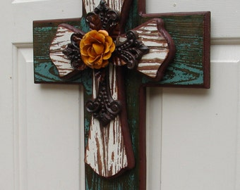 PC055 Large Rustic Turquois and White Stacked Cross with Yellow Rose