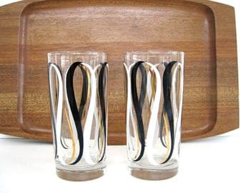 Vintage Glass Tumbler Set Black White Gold Ribbons Libbey Mid Century Modern Dinning Decor 1960's Barware Cocktail Glasses
