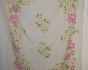 Vintage Cotton Acetate Tablecloth Big Bold Roses Cream and Pink FREE SHIPPING