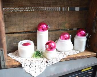 Collection of Five Small Vintage Milk Glass Bottles Unique Kitchen Display Craft Storage Jars Vases Vintage Planters Set Wedding Display