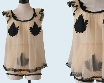 1960s Cream and Black Lingerie Set size S