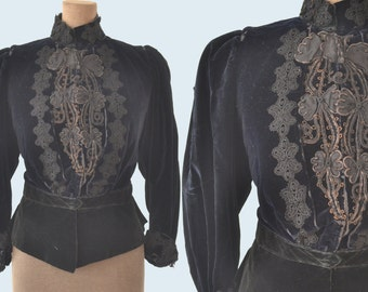 Victorian Black Velvet Jacket size XS