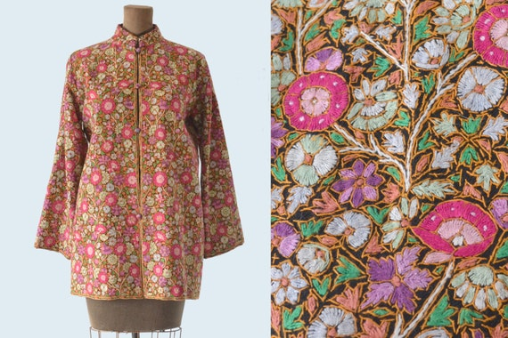 Kashmiri Embroidered Silk Jacket size M