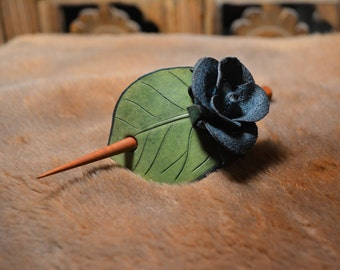 Leather Stick Barrette - Blue Rose