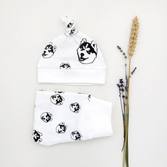 Organic Baby Gifts Ireland : Siberian husky dog organic baby leggings and hat newborn