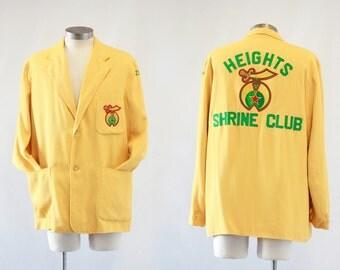SHRINERS Vintage 60s Jacket | 1960's Heights Shrine Club Zuhrah Fraternity Blazer |  Sports Coat, Uniform, Smoking Jacket | Size Mens Medium