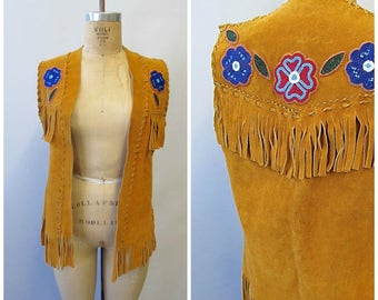 BEAD IT Vintage 70s Vest | 1970s Native American Floral Beaded Suede Vest, Handmade Fringe leather Top | Hippie Boho Southwestern | Sz Small