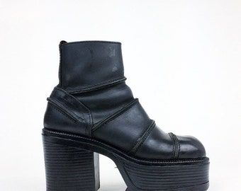 90's Black Leather Patchwork Industrial Platform Ankle Boots // 7