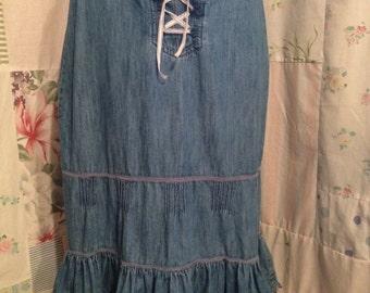 MEDIUM Skirt Denim Boho Hippie Bohemian Blue Country Cotton Skirt