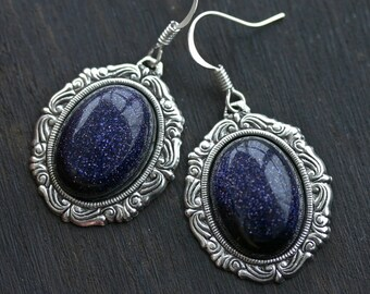 Galaxy Earrings - Blue Goldstone Cameo Constellation