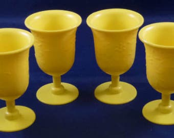 Vintage Plastic Yellow Children's Pretend Play Goblet Glasses, 1960s (Qty 4)