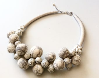 Felted necklace with silk and beads Felt necklace- Shadow- Handmade - OOAK- Felt necklace with  Howlite  stone  beads - White gray necklace