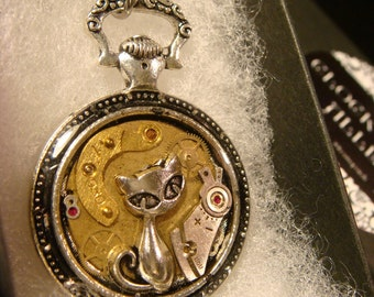 Clockwork Cat Steampunk Pocket Watch Pendant Necklace -Made with Real Watch Parts (2358)