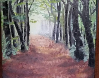 """Original Forest Oil Painting 16""""x20"""" / nature painting / pathway / woods / trees"""