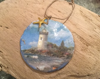 Decoupage Sand dollar / with Starfish  charm Ornament