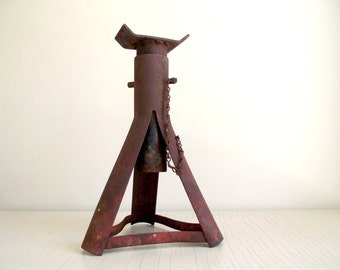 Vintage Jack Stand , Adjustable Metal Trailer Jack , Rustic Industrial Decor , Vintage Industrial Supply