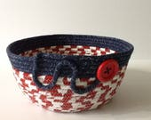 Red White and Blue Coiled Rope Bowl, July 4th Fabric Basket, Americana Catchall Basket, Patriotic Organizer Basket, Quiltsy Handmade