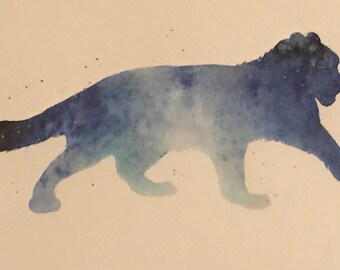 Snow Leopard - watercolour silhouette print