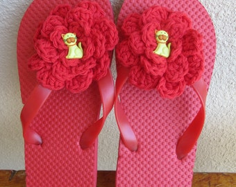 Red Flip Flops, Girls Size Large 2 - 3, Flower Flip Flops, Red Flower Flip Flops