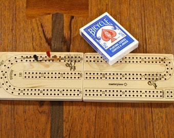 "Travel Cribbage Board 2 player Premium Quality, Wooden or Metal Pegs, Folded Size 6 1/2"" x  3 1/2""  x  1 1/2""D, Wood Games, Paul Szewc"