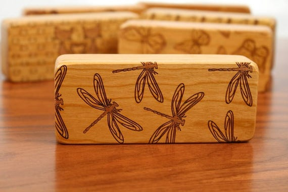 "Dragonfly Stash Box, 5"" x 2"" x 1"", Pattern ST15, Solid Cherry, Rare Earth Magnets for closure and security, Paul Szewc, Masterpiece Laser"