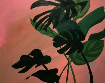 """Original contemporary art painting titled """"Esplanade"""" -  20"""" square acrylic on wood. Inspired by the New Orleans heat and Tropical Foliage"""