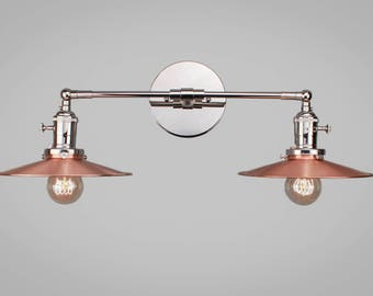 Vintage Art Deco Double Sconce - Wall Mount Industrial Light w/ Copper & Opal Shade