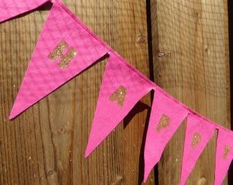 Happy Birthday Bunting - made from pink wool blend felt with gold glitter text, perfect for kids birthday