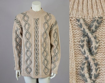 90s Vintage Mock Turtleneck Oversized Cable Knit Wool Sweater (M, L)