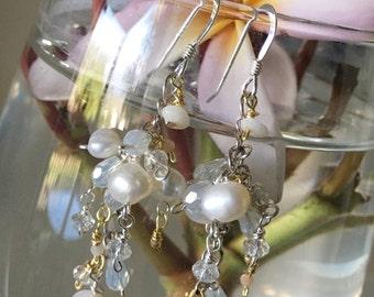 Tiny Kauai Puka's With Pearl Cluster Earrings