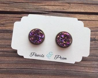 Magenta Confetti Druzy Earrings, 12mm druzy earrings, Stud Earrings, Purple Gold Earrings, Shimmer Rainbow Druzy, Magenta Gold