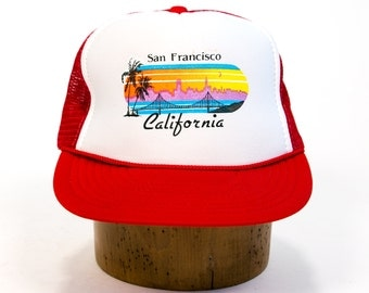 Vintage 1980's Golden Gate Bridge Sunset San Francisco Trucker Hat Unisex