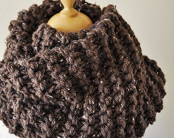 Brown Tweed Infinity Scarf - Outlander Inspired Cowl - Brown Knit Cowl - Claire's Cowl - Mobius Knit Scarf