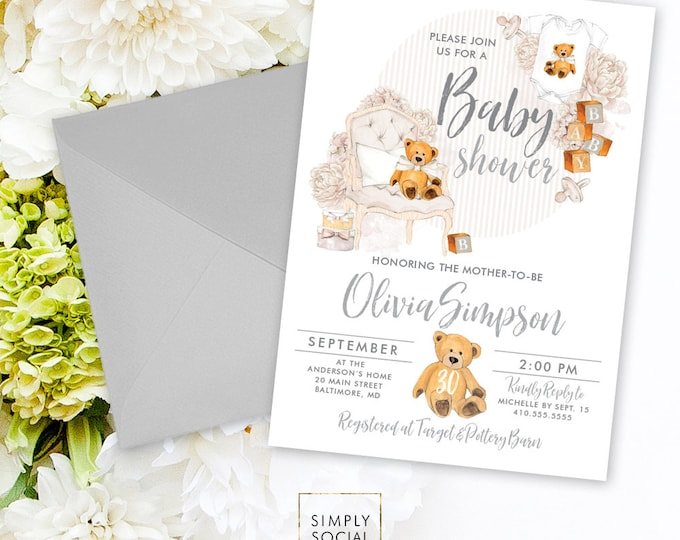 Teddy Bear Baby Shower Invitation - Gender Neutral Baby Shower Invitation Grey Invite Gray Baby Shower Baby Blocks Printable Invitation