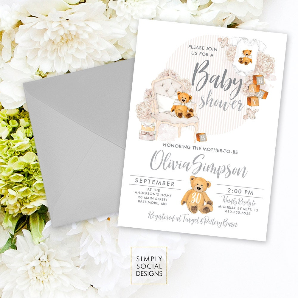 Teddy Bear Baby Shower Invitation - Gender Neutral Baby Shower ...