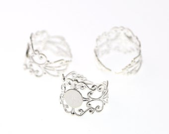 Silver Tone Brass High Quality Adjustable Filigree Lace Ring Base