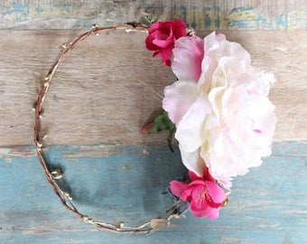 Flower Halo, gold pink rose, blue crown, wedding, bridal, halo, summer, bride, festival, hair accessory, wreath, beach wedding, destination