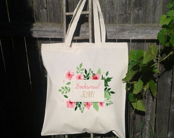 Personalized Bridesmaid Tote, Mother of the Groom, Wedding Tote Bag,Wedding Party,  Canvas Tote, Floral Wreath, Water Color