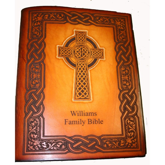 Celtic Cross  Family Bible Handcrafted and Customized with Family Name