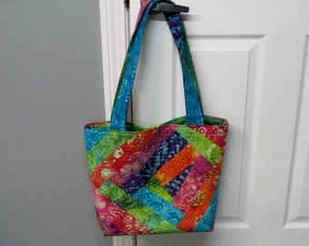 Batik Quilted One Of A Kind Tote Bag Ready To Ship