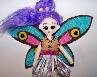 "Mini FabsTM 5"" tall felt fairy doll with removable outfit, shoes and wings, all completely hand-sewn, comes in a gift box"