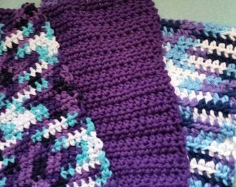 Ready to ship Set of 3 Dish cloths Dish rags Wash cloths crocheted in a color combination of Blueberry pie colors and purple cotton yarn