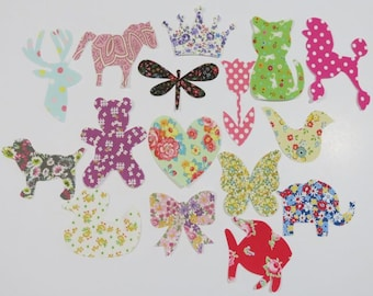 20 Assorted Baby Girl Iron On Appliques Baby Shower Activity Girl Iron on Patch Baby Shower Activity