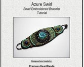 SPRING SALE 15% OFF Tutorial Beading Pattern Bead Embroidery Kit (Instructions and materials) - Bracelet Cuff Turquoise Teal Blue - LiMited