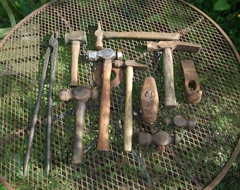 Large lot of 10 Blacksmith's hammers and one set of tongs from forge clearance, lot3