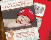 Christmas Birth Announcement, Little Deer (double sided)