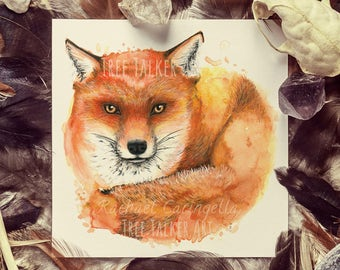 Giclee Art Print - Mixed Media Fox - Fox  Watercolor Painting - Fox - 9x9 - Tree Talker Art