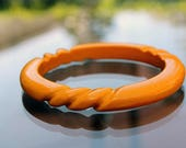 Yellow Plastic or Resin Bangle with Rope Design